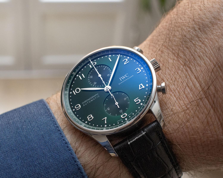 El IWC Portugieser Chronograph verde, en la muñeca