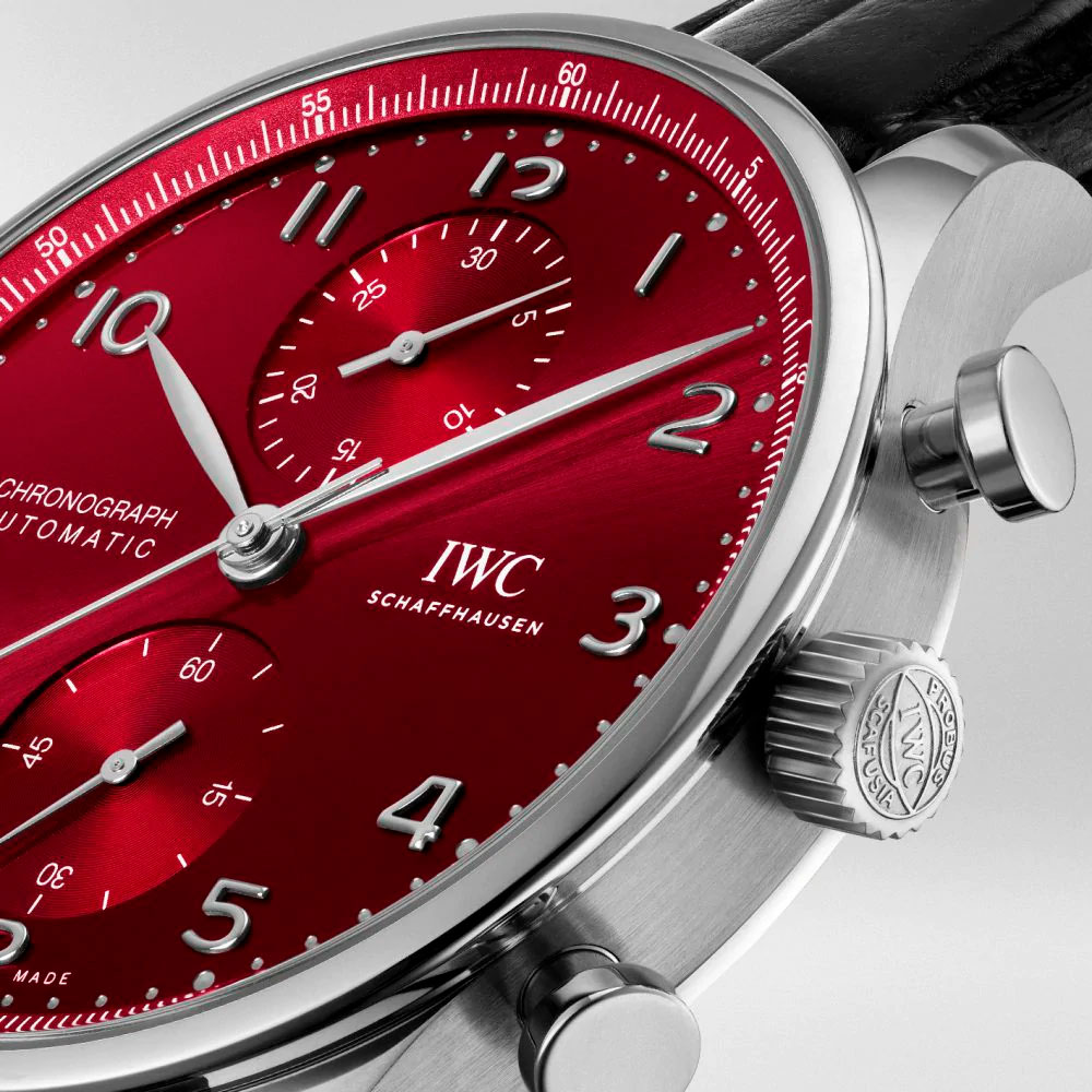 Detalle de la corona y pulsadores del IWC Portugieser Chronograph