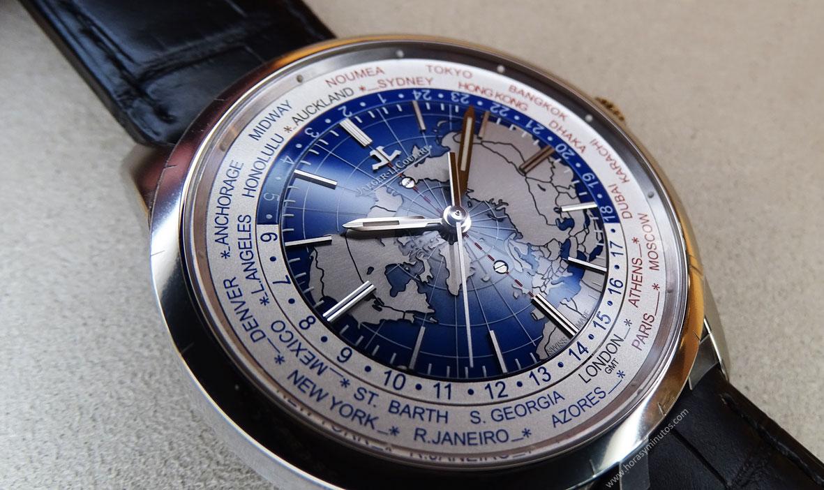 Jaeger-LeCoultre Geophysic Universal Time acero detalle de la esfera