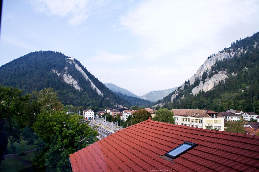 Vista de una parte de la villa de Fleurier desde la manufactura de Chopard