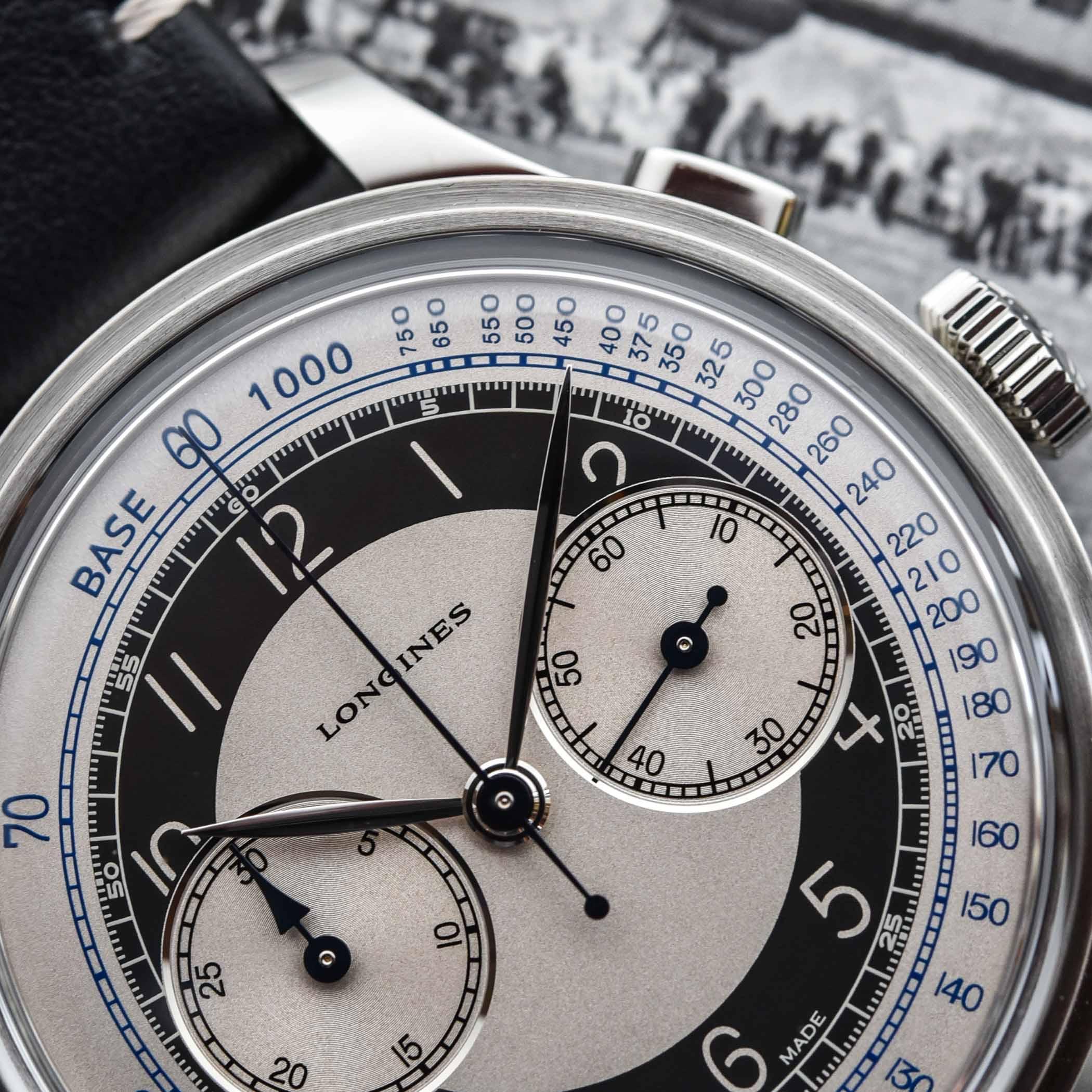 Detalle de la esfera del Longines Heritage Classic Tuxedo Chronograph
