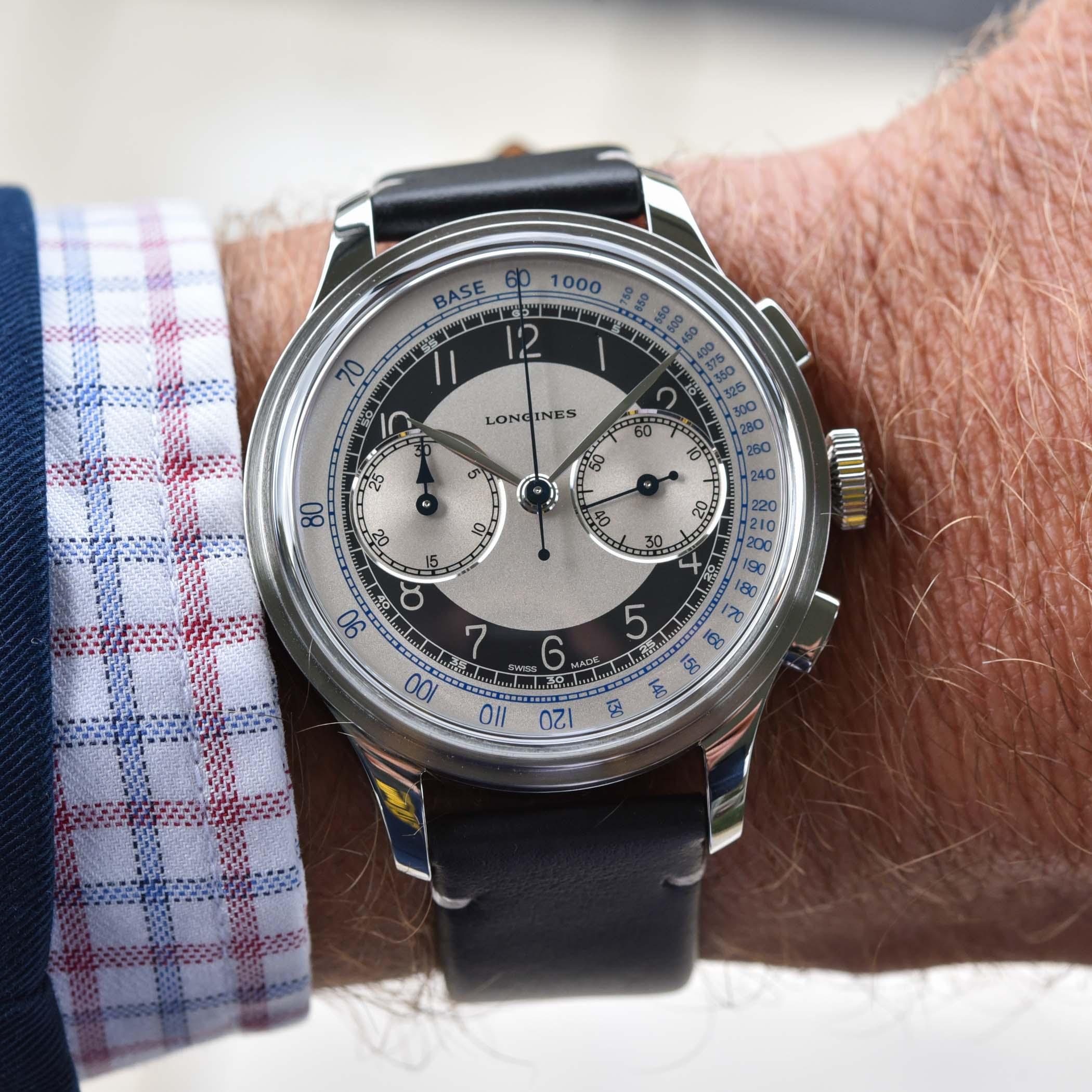 El Longines Heritage Classic Tuxedo Chronograph, en la muñeca