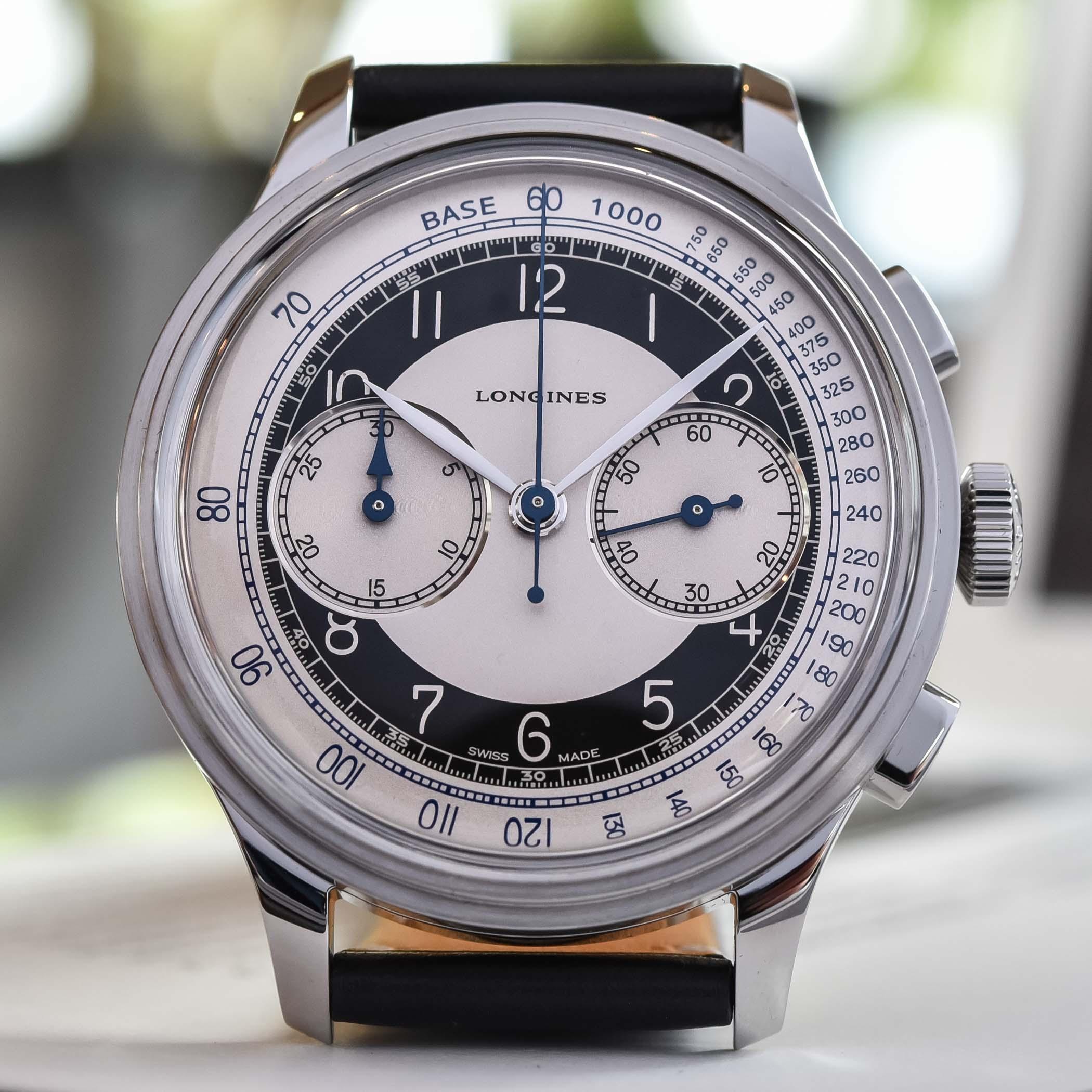 Esfera del Longines Heritage Classic Tuxedo Chronograph