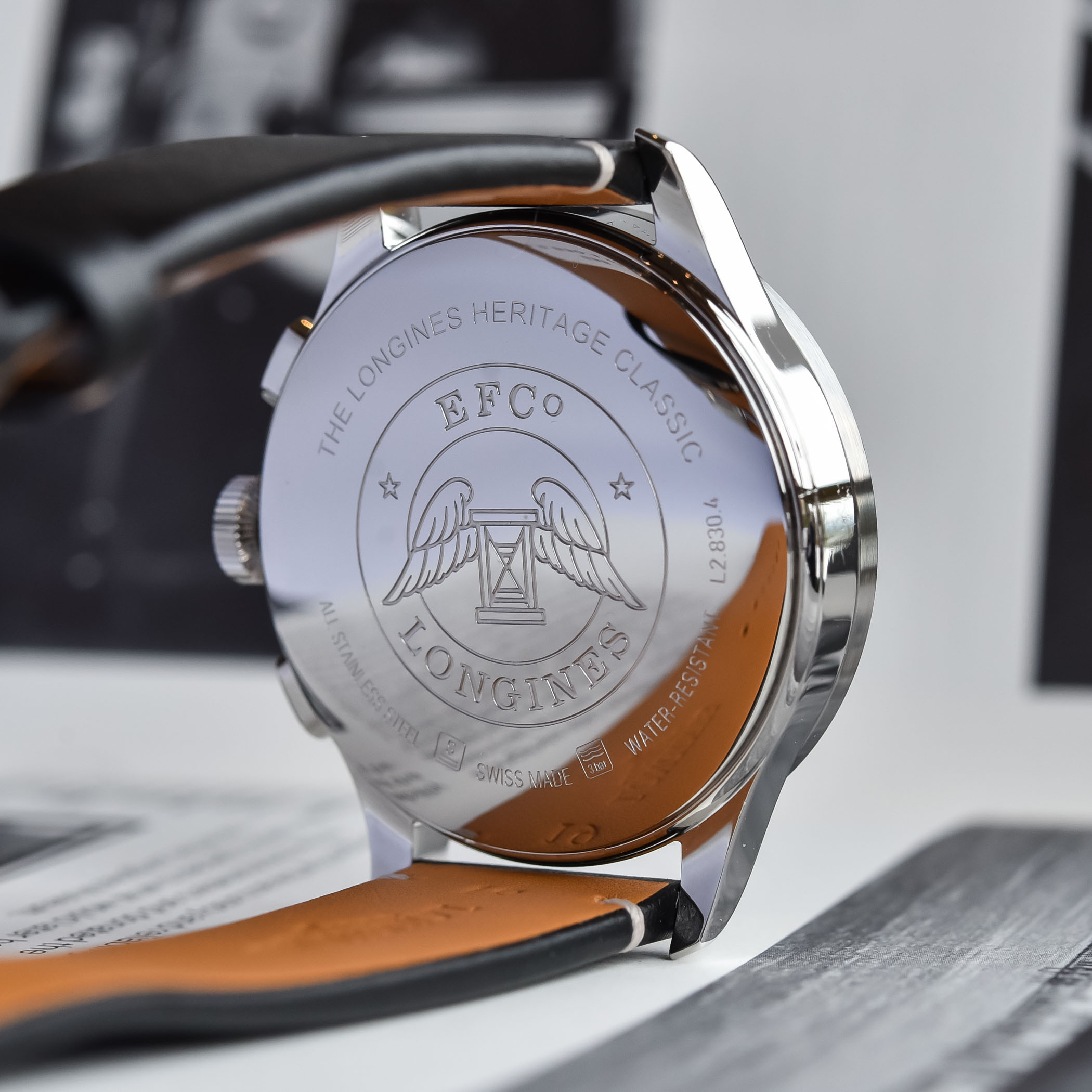 Trasera del Longines Heritage Classic Tuxedo Chronograph