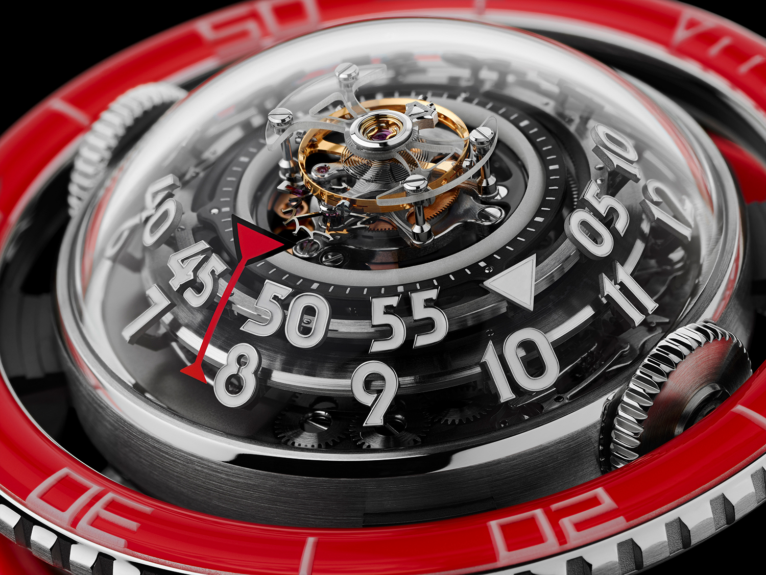 Detalle del movimiento del MB&F HM7 Platinum Red