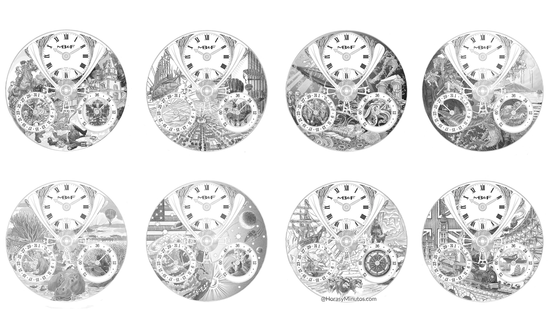 Los 8 dibujos previos de los MB&F x Eddy Jaquet LM Split Escapement
