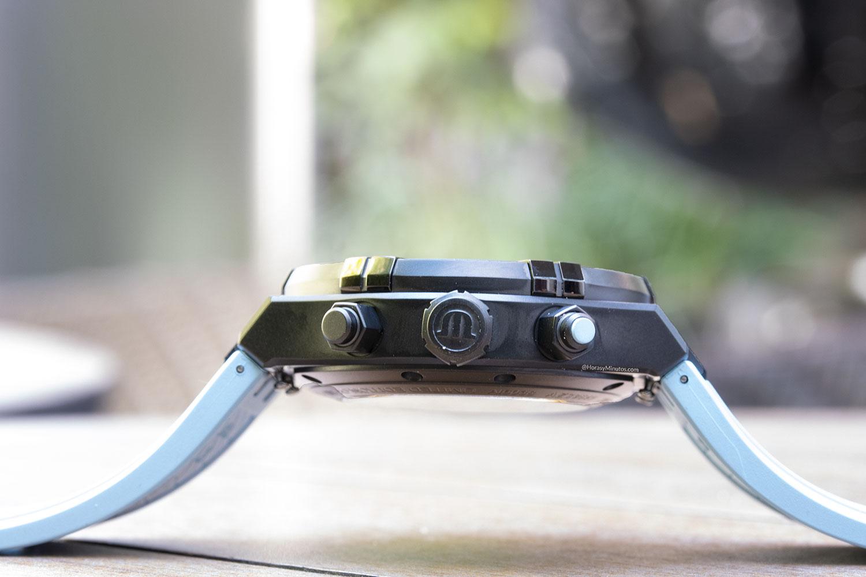Corona y pulsadores del Maurice Lacroix Aikon Automatic Chronograph Sprint