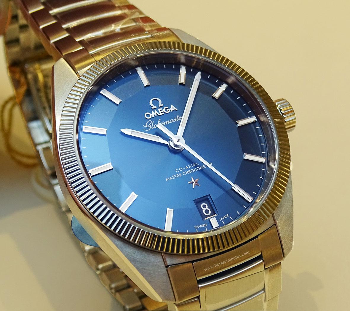 OMEGA-Globemaster-Master-Chronometer-acero-esfera-azul-Horas-y-Minutos