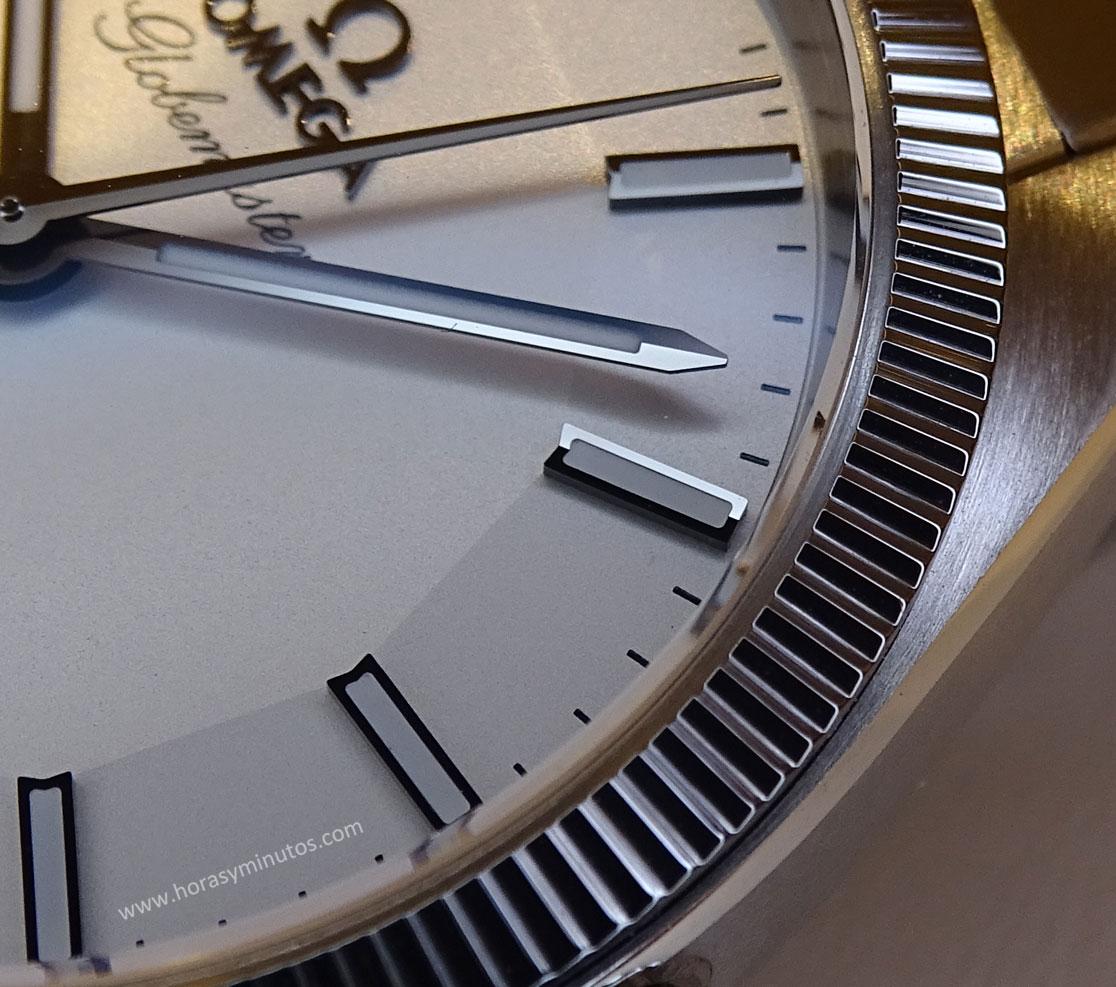 OMEGA-Globemaster-Master-Chronometer-detalle-esfera-Horas-y-Minutos
