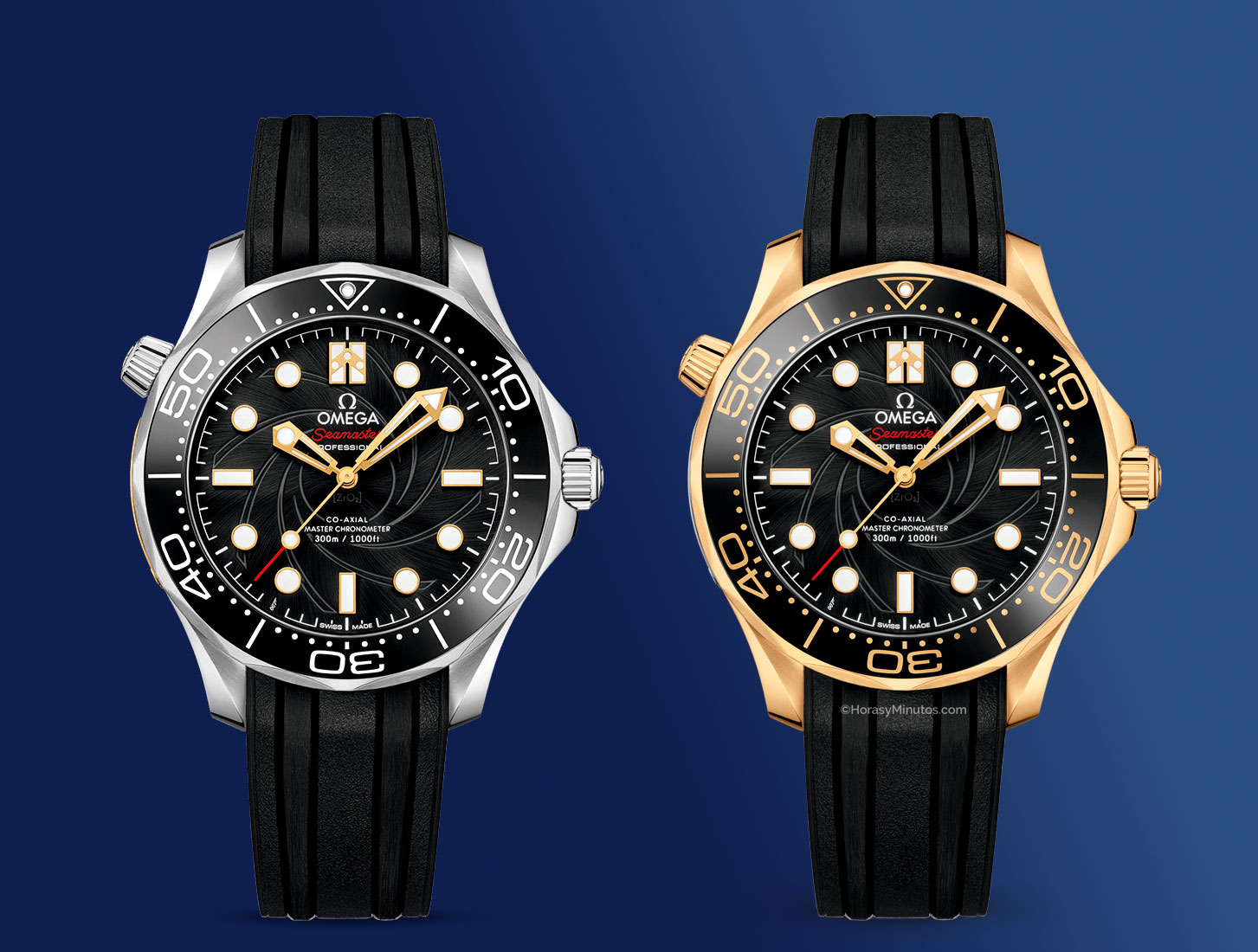 frontal de los Seamaster 300 M del Omega James Bond Limited Edition Set 1 Horas y Minutos