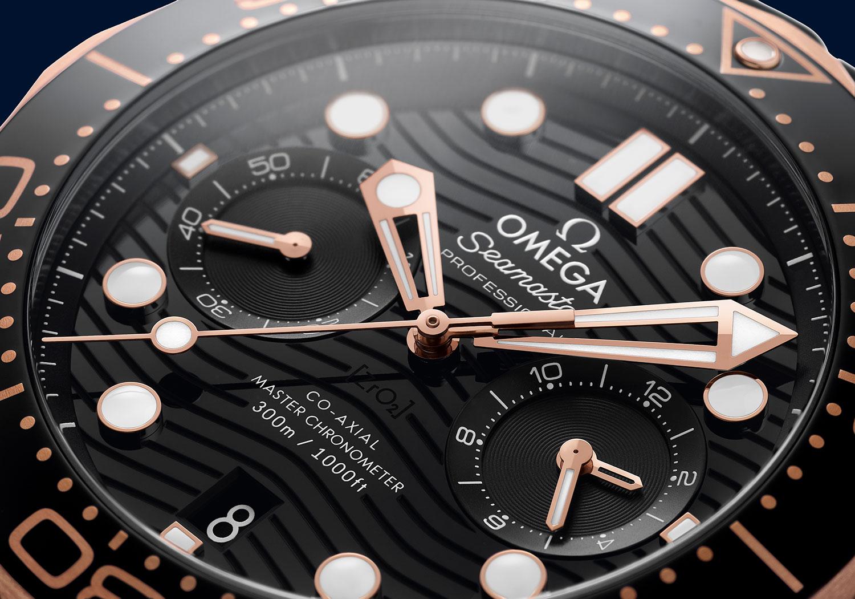 Detalle de la esfera del Omega Seamaster 300M Chronograph