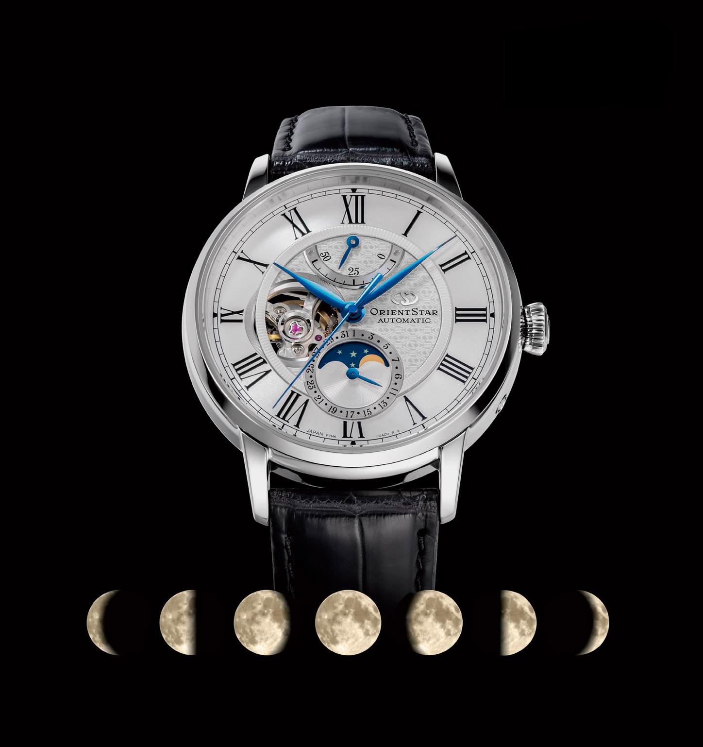 Orient Star Mechanical Moon Phase blanco y correa de piel