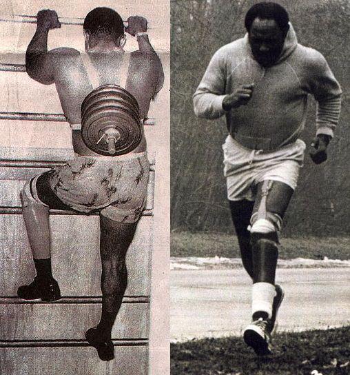 Carl Brashear entrenando con su prótesis de pierna