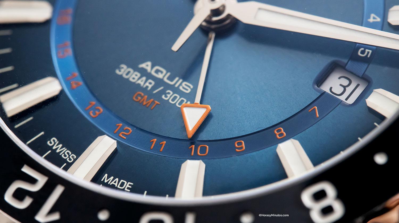 Detalle de la manecilla del GMT en el Oris Carysfort Reef Limited Edition