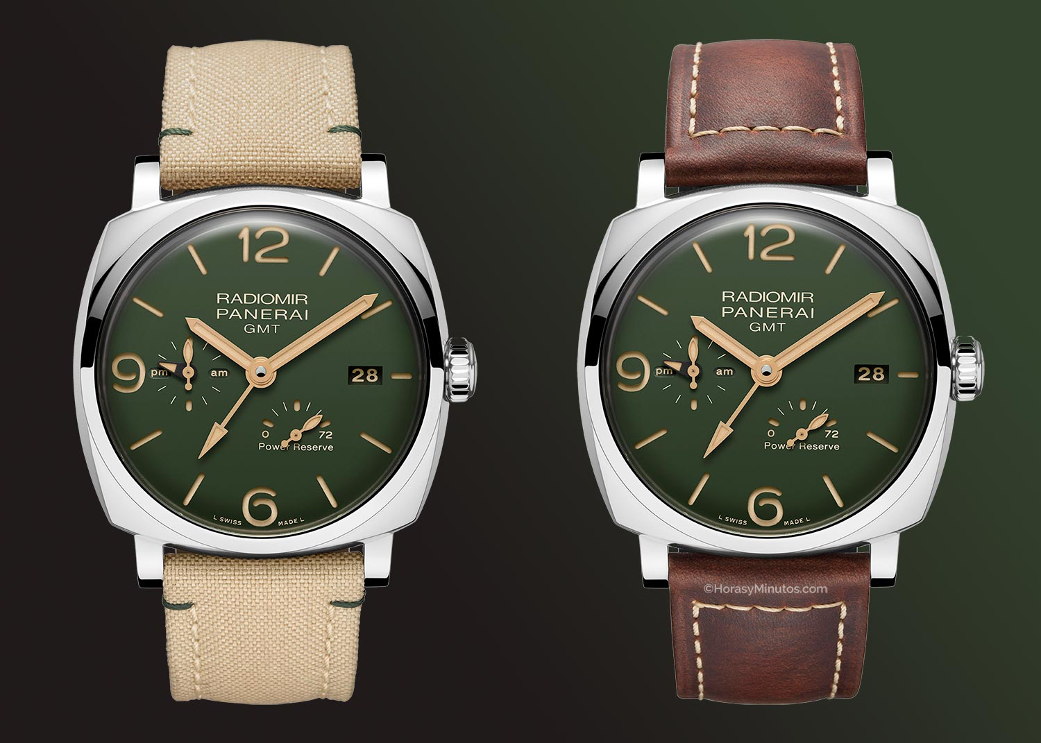 Los dos Panerai Radiomir 1940 Green Dial GMT Power Reserve 45 mm
