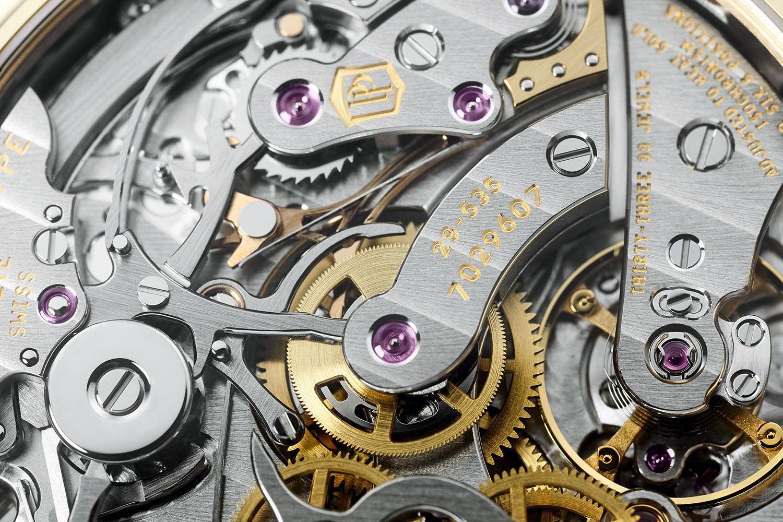 Detalle del Calibre CH 29 535 PS Q del Patek Philippe Perpetual Calendar Chronograph
