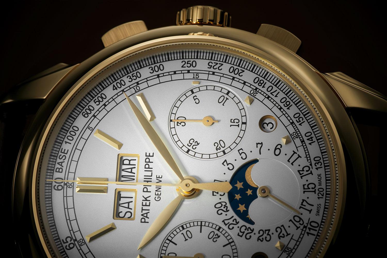 Detalle de la esfera del Patek Philippe Perpetual Calendar Chronograph