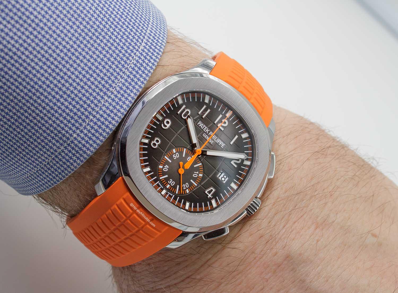 El Patek Philippe Aquanaut Chronograph 5968A, puesto