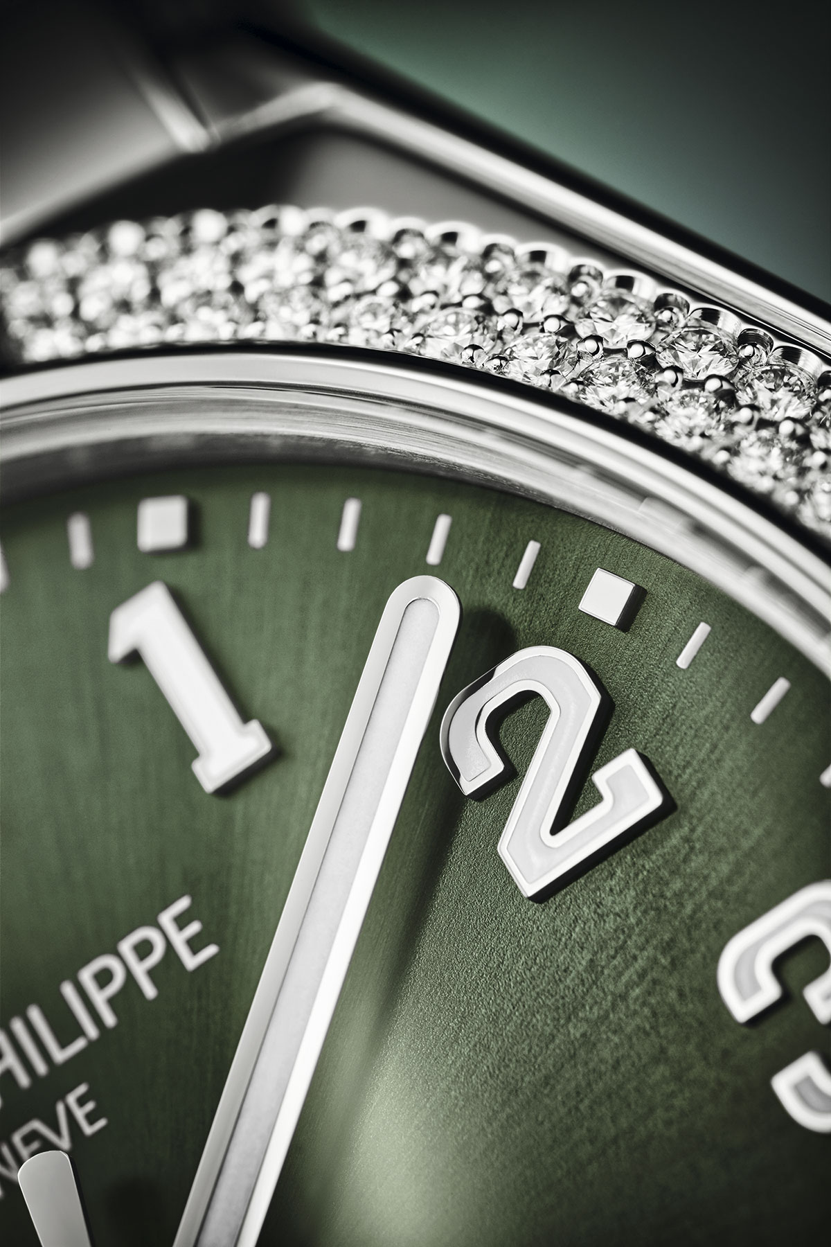 detalle del Patek Philippe Twenty~4 de acero y esfera verde