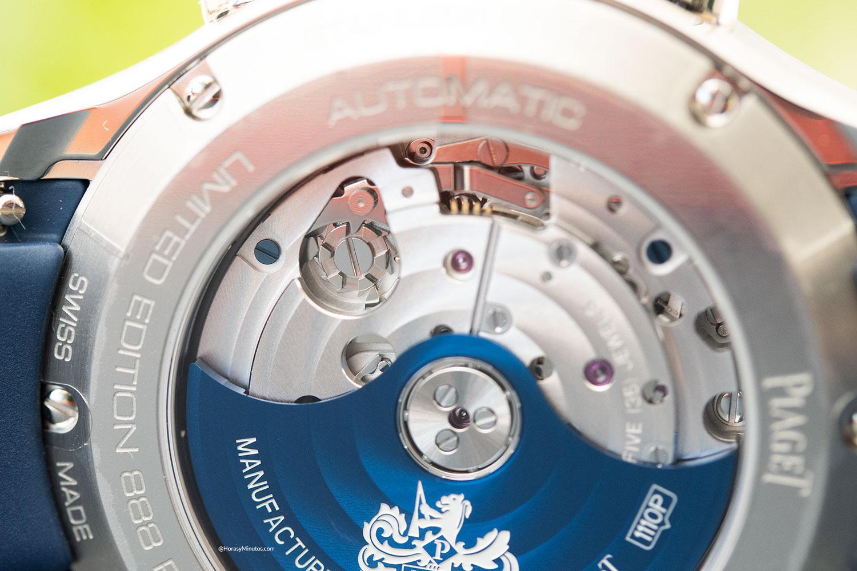 """Detalle de la rueda de pilares del Piaget Polo Chronograph """"Blue Panda"""""""