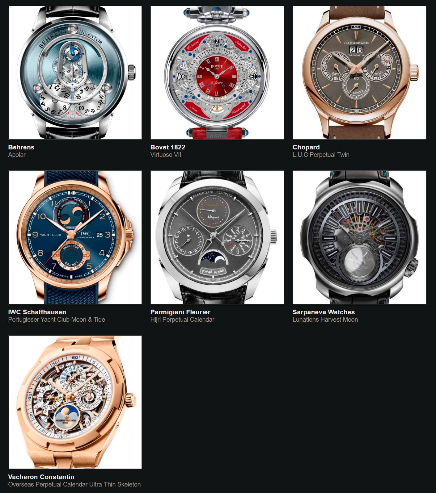 Relojes preseleccionados para el Gran Premio de Relojería de Ginebra 2020 Calendario y Astronomía