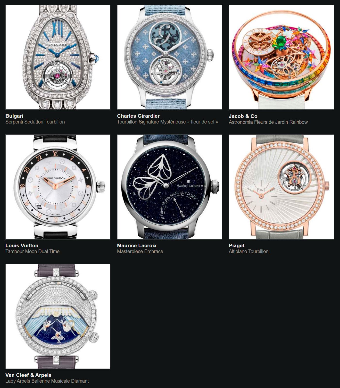 Relojes preseleccionados para el Gran Premio de Relojería de Ginebra 2020 Complicación Dama
