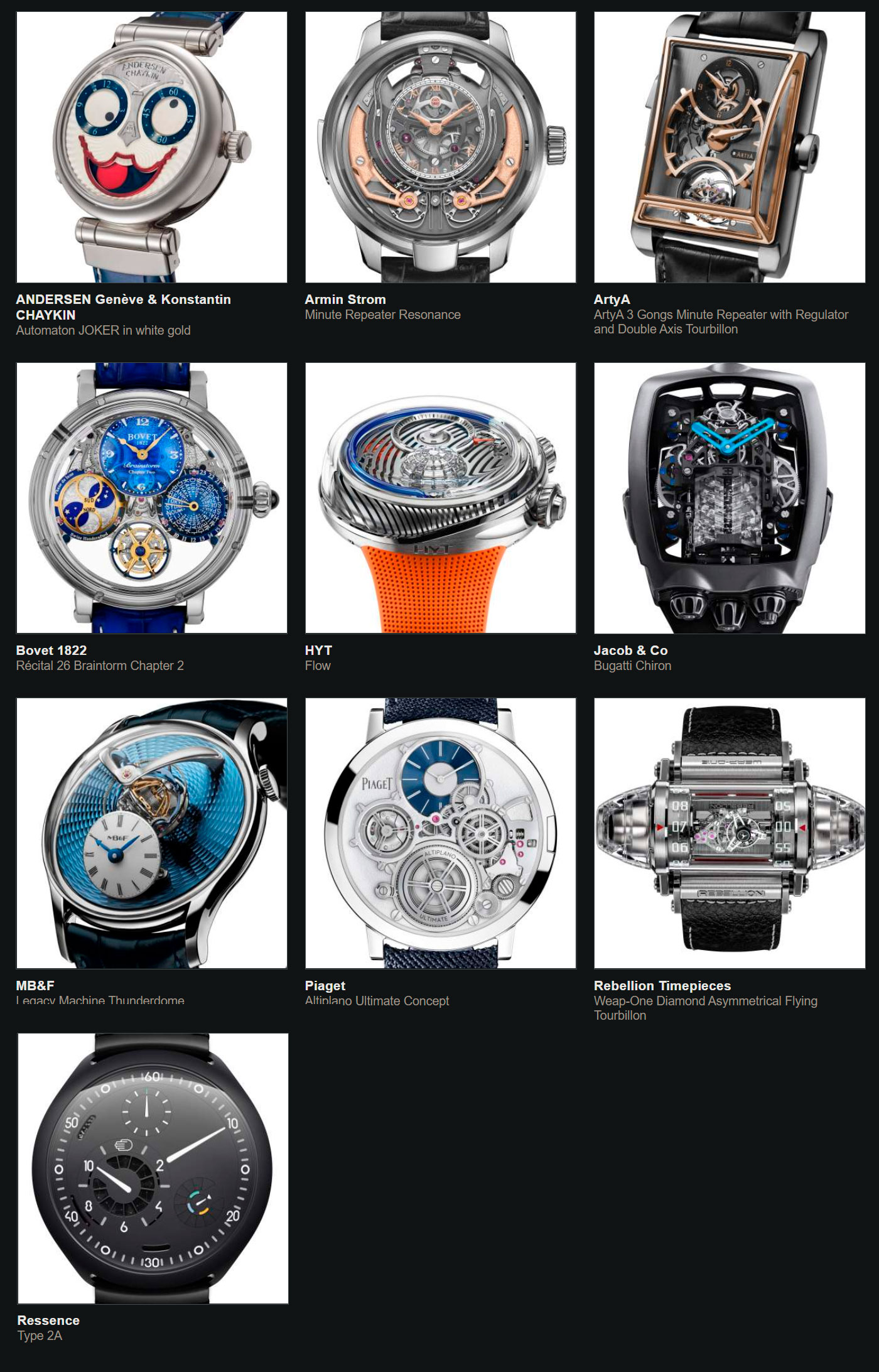 Relojes preseleccionados para el Gran Premio de Relojería de Ginebra 2020 Excepción Mecánica