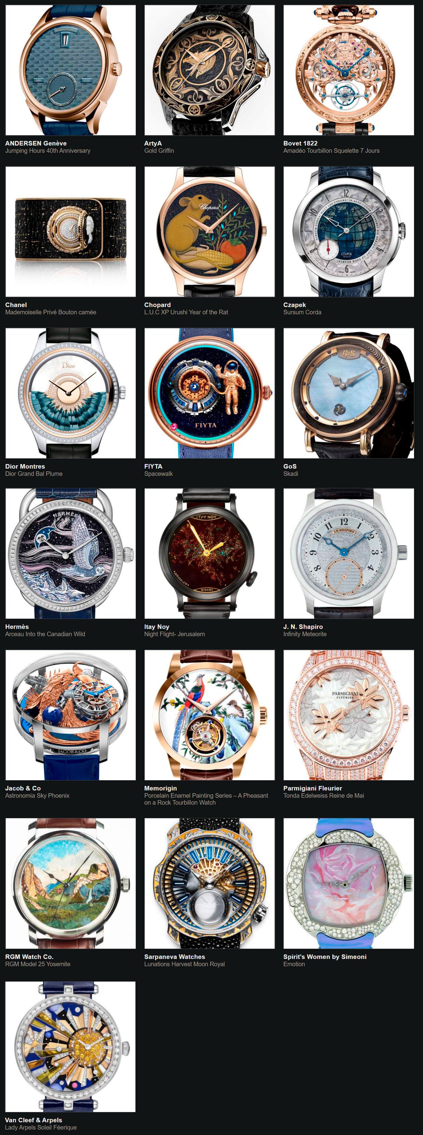 Relojes preseleccionados para el Gran Premio de Relojería de Ginebra 2020 Oficios Artesanos