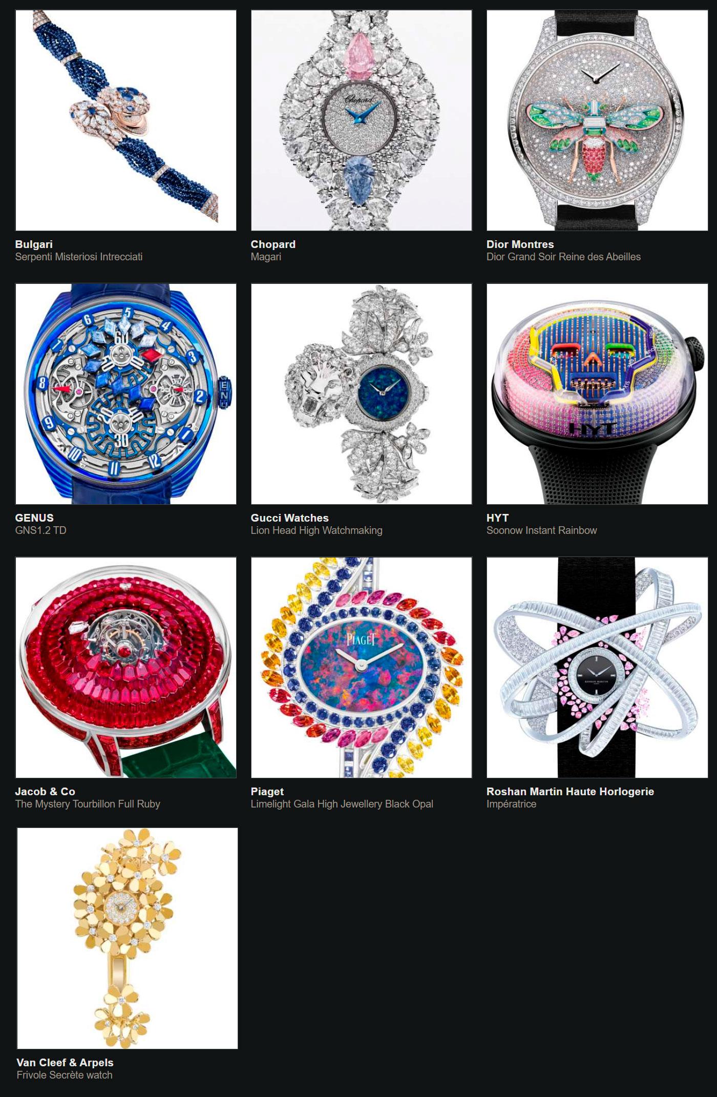 Relojes preseleccionados para el Gran Premio de Relojería de Ginebra 2020 Reloj Joya