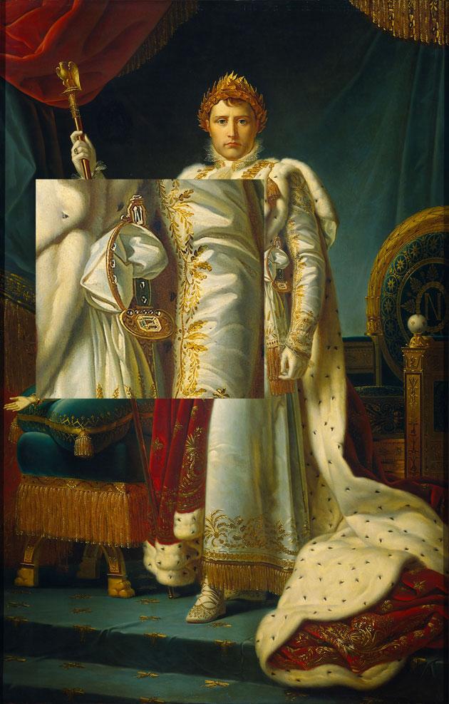 Retrato-de-Napoleon-con-diamante-Regente-en-la-espada