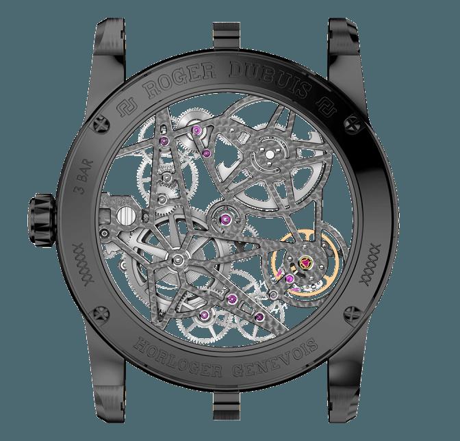 Roger Dubuis Excalibur Skeleton Automático titanio y DLC reverso