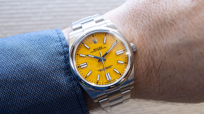 El Rolex Oyster Perpetual 41 mm 2020 Referencia 124300 amarillo, visto de frente