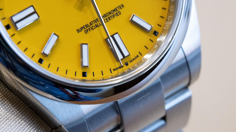Detalle de la esfera del Rolex Oyster Perpetual 41 mm 2020 Referencia 124300