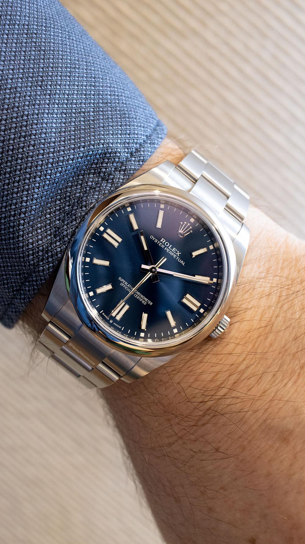 Así queda el Rolex Oyster Perpetual 41 mm 2020 Referencia 124300 azul