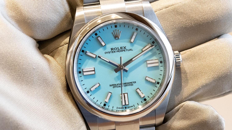 Esfera del Rolex Oyster Perpetual 41 mm 2020 Referencia 124300 turquesa