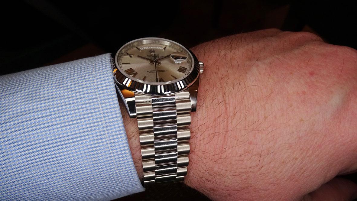 Rolex Oyster Perpetual Day Date oro blanco esfera cuartos brazalete president Horas y Minutos