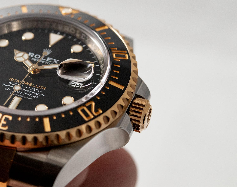 Bisel y corona del Rolex Sea-Dweller Rolesor