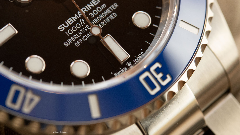 Detalle de la esfera del Rolex Submariner Date 41 mm 2020 126618LB
