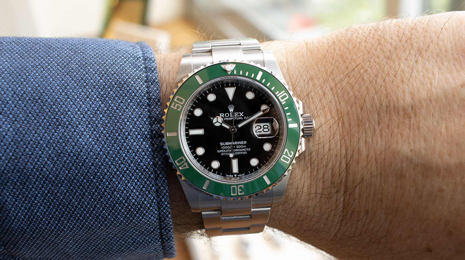 El Rolex Submariner Date 41 mm 2020 126610LV, visto de frente