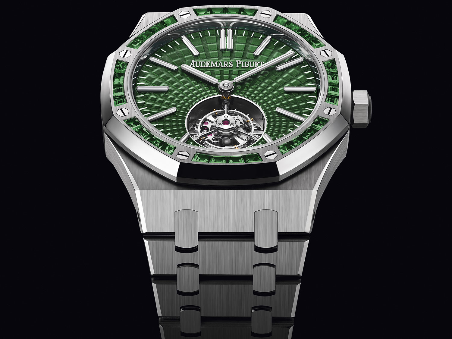 Royal Oak Verde Tourbillon Volante y esmeraldas