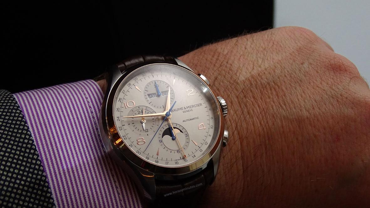 SIHH-2016-Baume-Mercier-Clifton-Chronograph-Complete-Calendar-bitono-Horas-y-Minutos