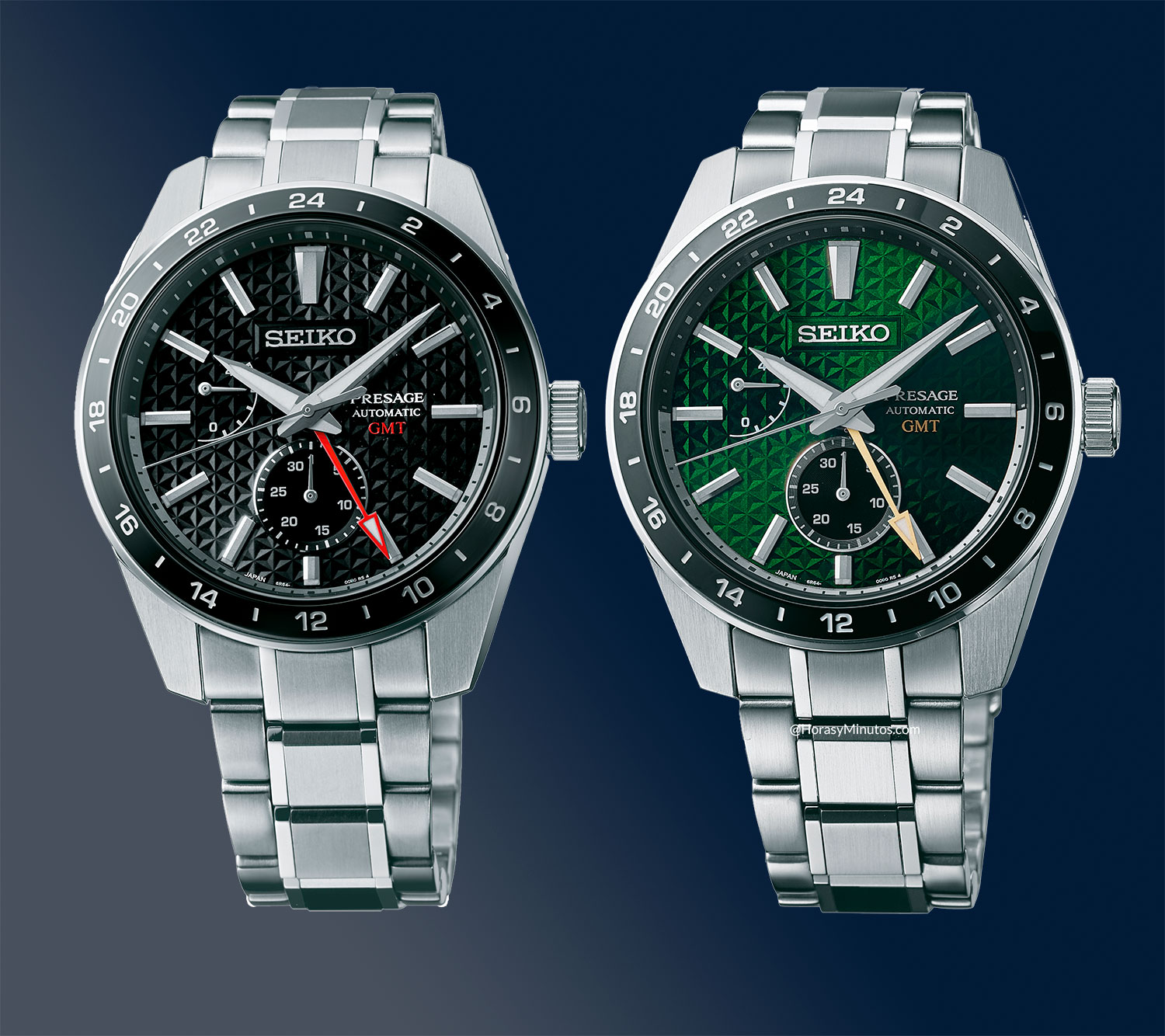 Seiko Presage Sharp Edged GMT negro y verde