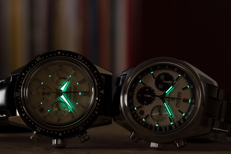 LumiBrite de los Seiko Presage y Prospex chronograph