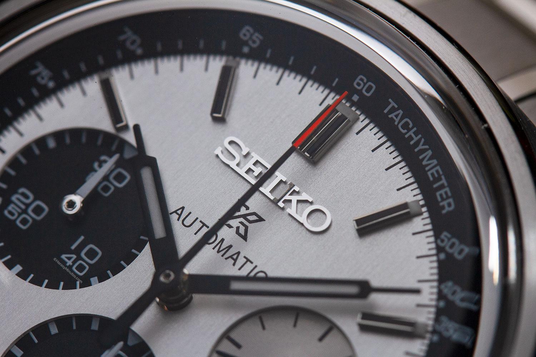 Esfera satinada del Seiko Prospex Automatic Chronograph 50th Anniversary Limited Edition SRQ029