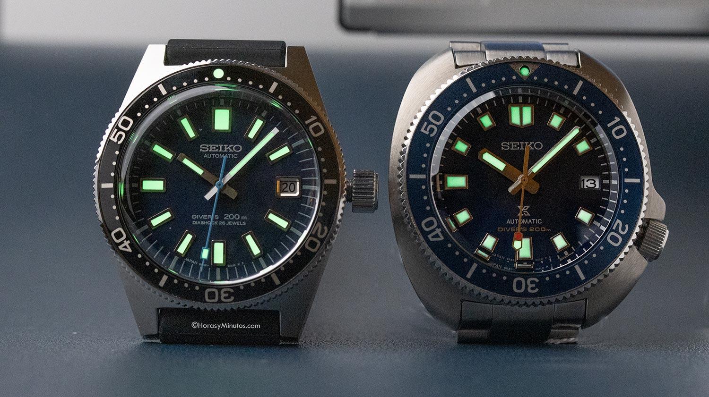 LumiBrite en los Seiko Prospex Diver 55 Aniversario SLA043J1 y SPB183J1