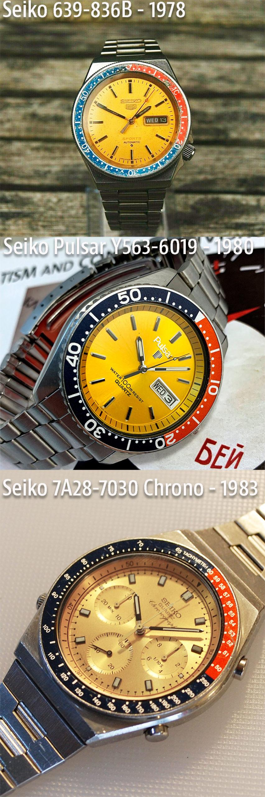 Seiko 6309-836B, Seiko Pulsar Y563-6019 y Seiko 7A28-7030 Chronograph