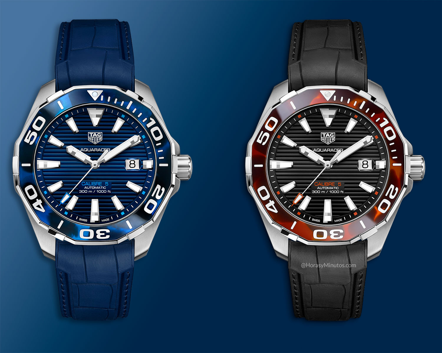 Los TAG Heuer Aquaracer Collection Carey, de frente