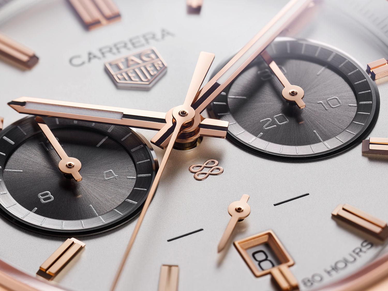 Detalle de la esfera del TAG Heuer Carrera Chronograph Jack Heuer Birthday Gold Limited Edition