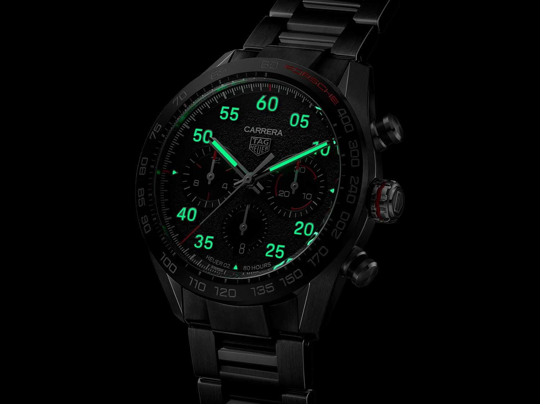 Tratamiento con Super-LumiNova del TAG Heuer Carrera Porsche Chronograph Special Edition