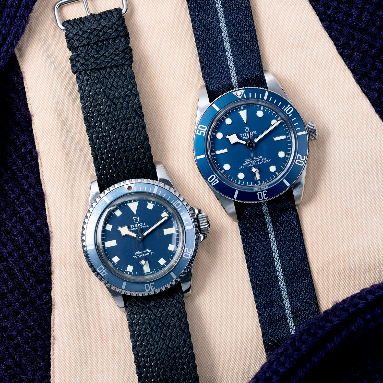 """El Tudor original a la izquierda y el Tudor Black Bay Fifty-Eight """"Navy Blue"""" a la derecha"""